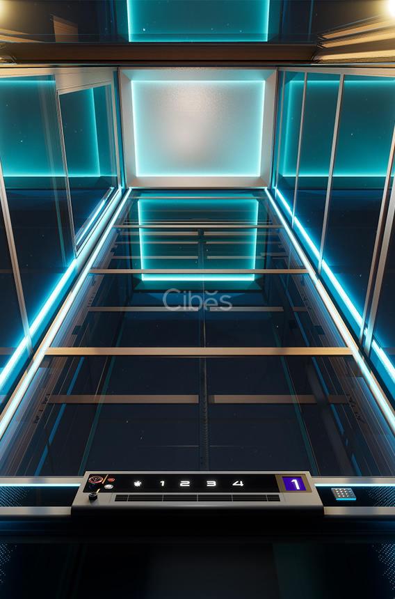 舒适与科技感并存的别墅电梯灯光效果