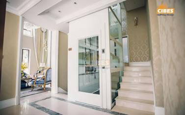 A5000 楼梯中间安装全景电梯
